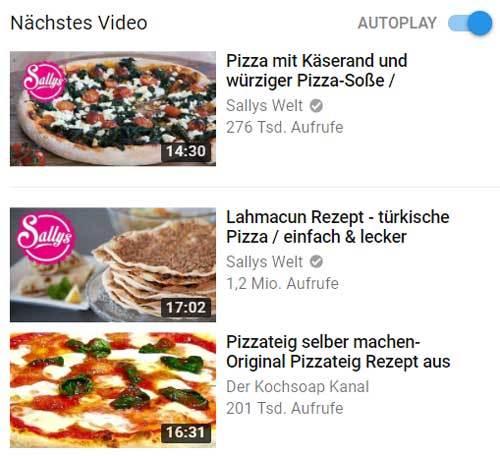 vorgeschlagene youtube videos