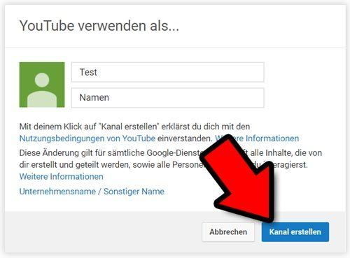 youtube kanal erstellen name