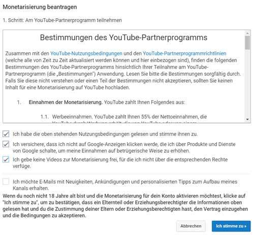 youtube partnerprogramm vertrag zustimmen