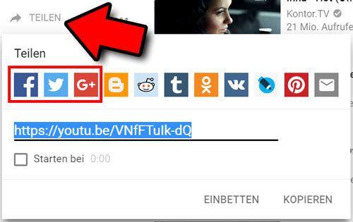 youtube video teilen